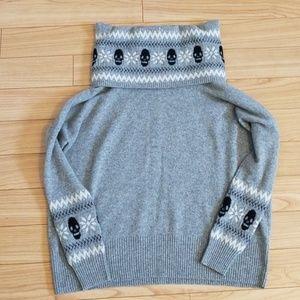 Autumn Cashmere Cowl Neck Scull Print Sweater